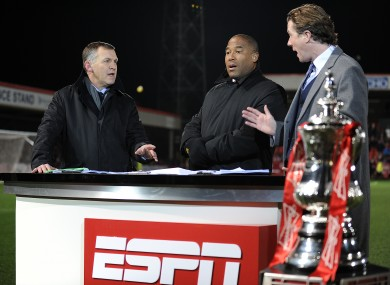 ESPN presenter Ray Stubbs with John Barnes and Steve McManaman.
