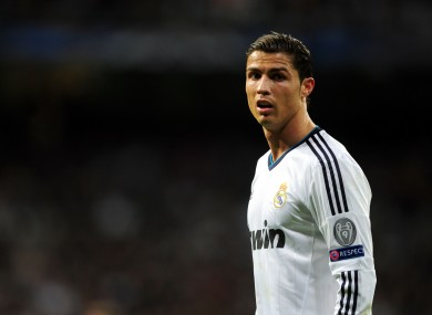 Real Madrid's Cristiano Ronaldo during the UEFA Champions League round of 16 match at Santiago Bernabeu.