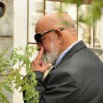 Barry Steenkamp, the father of Reeva Steenkamp, leaves his home to attend the funeral ceremony in Port Elizabeth. (AP Photo/Schalk van Zuydam)