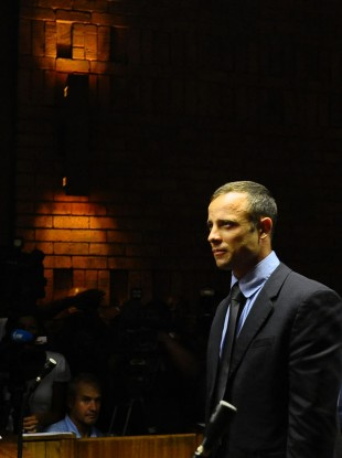 Pistorius in court yesterday on day one of his bail hearing.