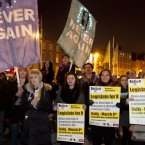 Several hundred people took part in a Pro Choice march, organised by 'Action on X ' from the Central Bank to the EU Health Ministers meeting in Dublin Castle.