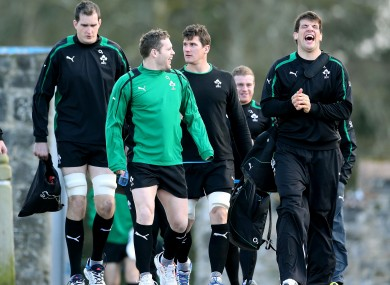 Darren Cave and Donncha O'Callaghan share a joke on the way to training this week.