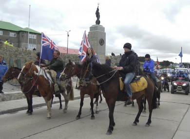 Falkland Islanders hold a pro-British rally on Sunday, ahead of yesterday's referendum - in which 99.8pc of voters opted to retain the connection with the UK.