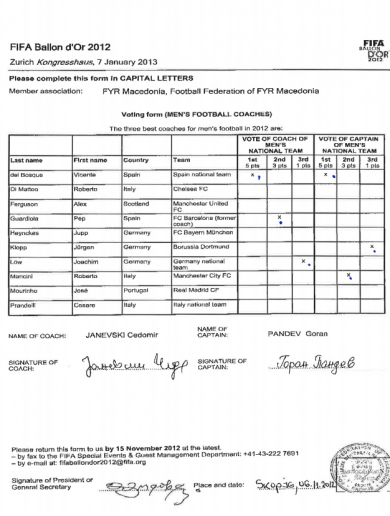 FIFA release Goran Pandev's ballot sheet in bid to prove he voted for del Bosque