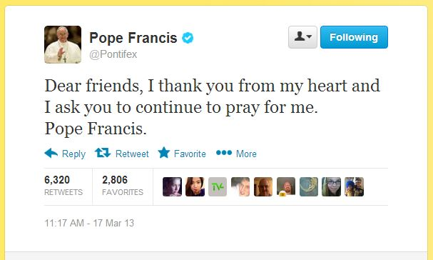 Pope Francis tweet