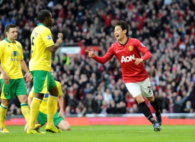 Manchester United's Shinji Kagawa celebrates scoring his team's second goal.