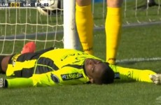 Ivory Coast keeper Boubacar Barry was out cold after colliding with the post