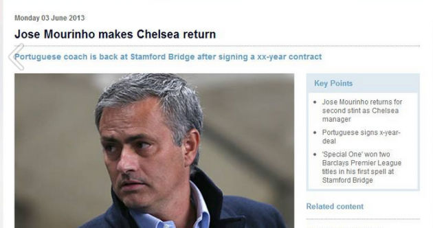 Premier League website prematurely announces Jose Mourinho as new Chelsea boss