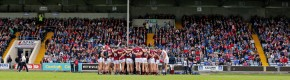 The Galway team huddle before the start of the game.